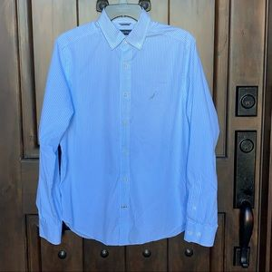 Like New Men's Blue & White Striped Shirt.